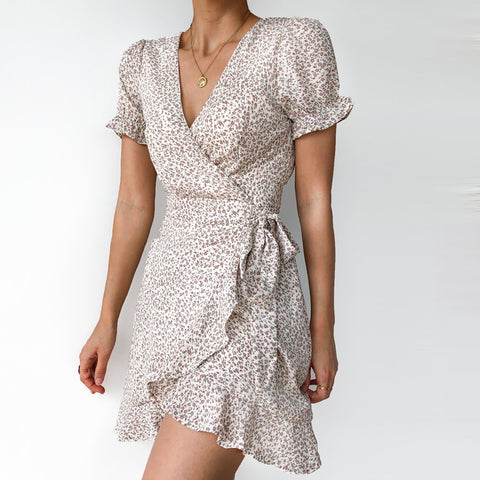 Fashion V-neck print ruffle mini dress
