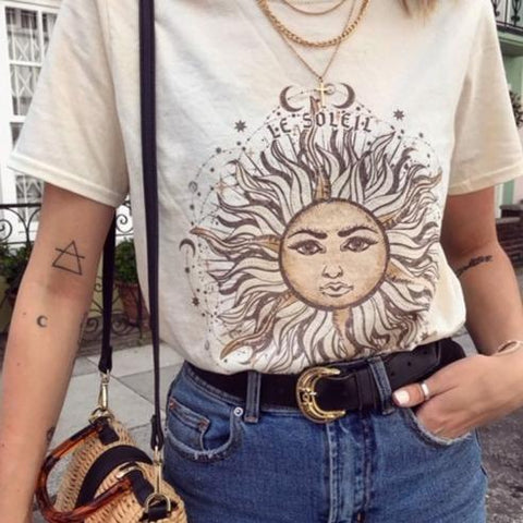 Vintage printed short-sleeved t-shirts