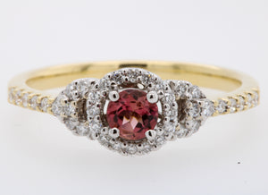 Pink Tourmaline with Shoulder Diamonds Ring
