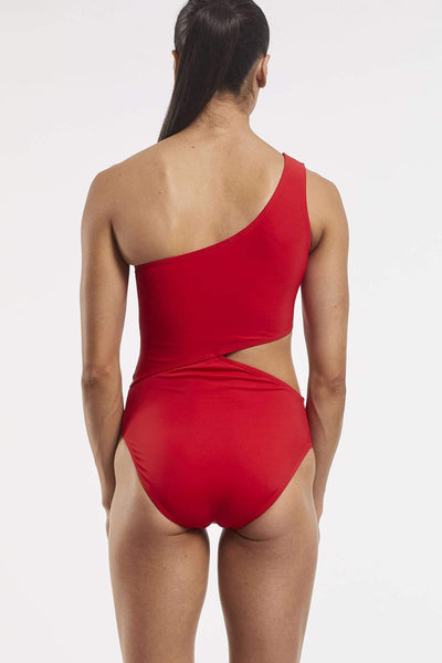 Her Society - Cold Shoulder Asymmetrical One Piece - Riot Red - By ALLERTON