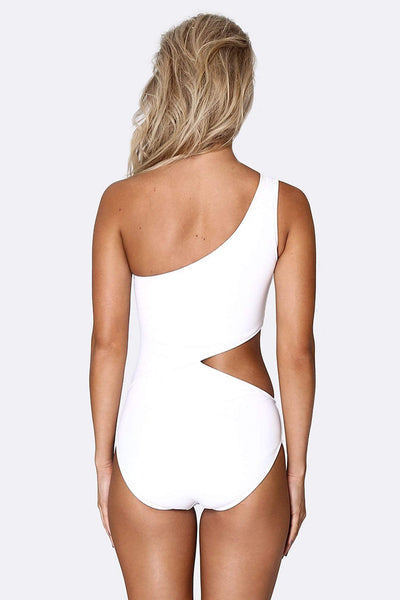 Her Society - Cold Shoulder Asymmetrical One Piece - White - By ALLERTON