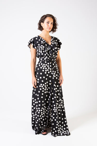 Her Society - Birkin Spot Maxi Dress - Black - By embodydenim