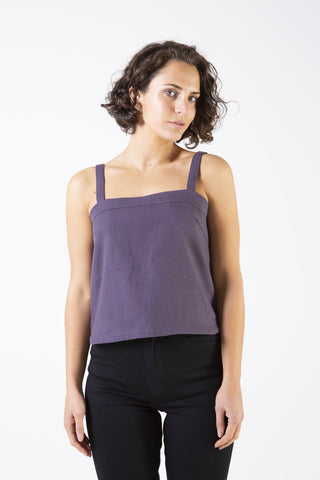 Her Society - Amy Linen Top Navy - By RYDER