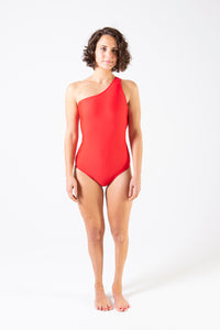 Her Society - Sporty One Shoulder One Piece - Red - By ALLERTON