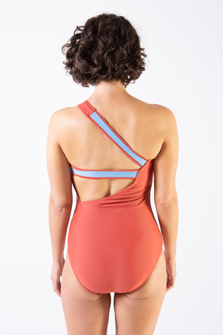 Her Society - Sporty One Shoulder One Piece - Rust - By ALLERTON