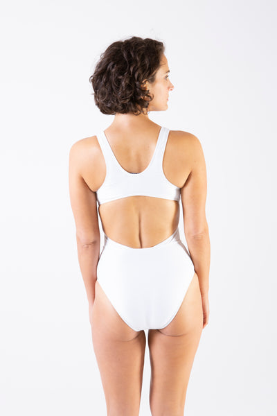 Her Society - Cross Over Tank One Piece Swimsuit in White - By ALLERTON