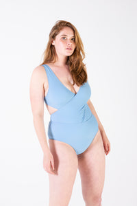 Her Society - Cross Over Tank One Piece - Glacier Blue - By ALLERTON