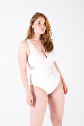 Her Society - Cross Over Tank One Piece - White - By ALLERTON
