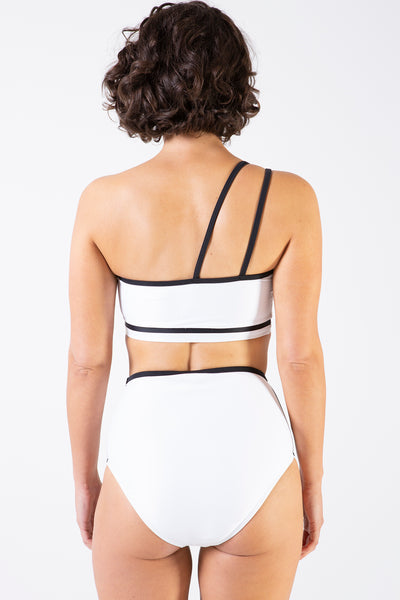 Her Society - Sporty One Shoulder Crop in White - By ALLERTON