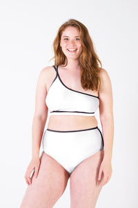 Her Society - Sports High Waisted Brief - White - By ALLERTON