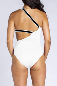Her Society - Sporty One Shoulder One Piece - White - By ALLERTON