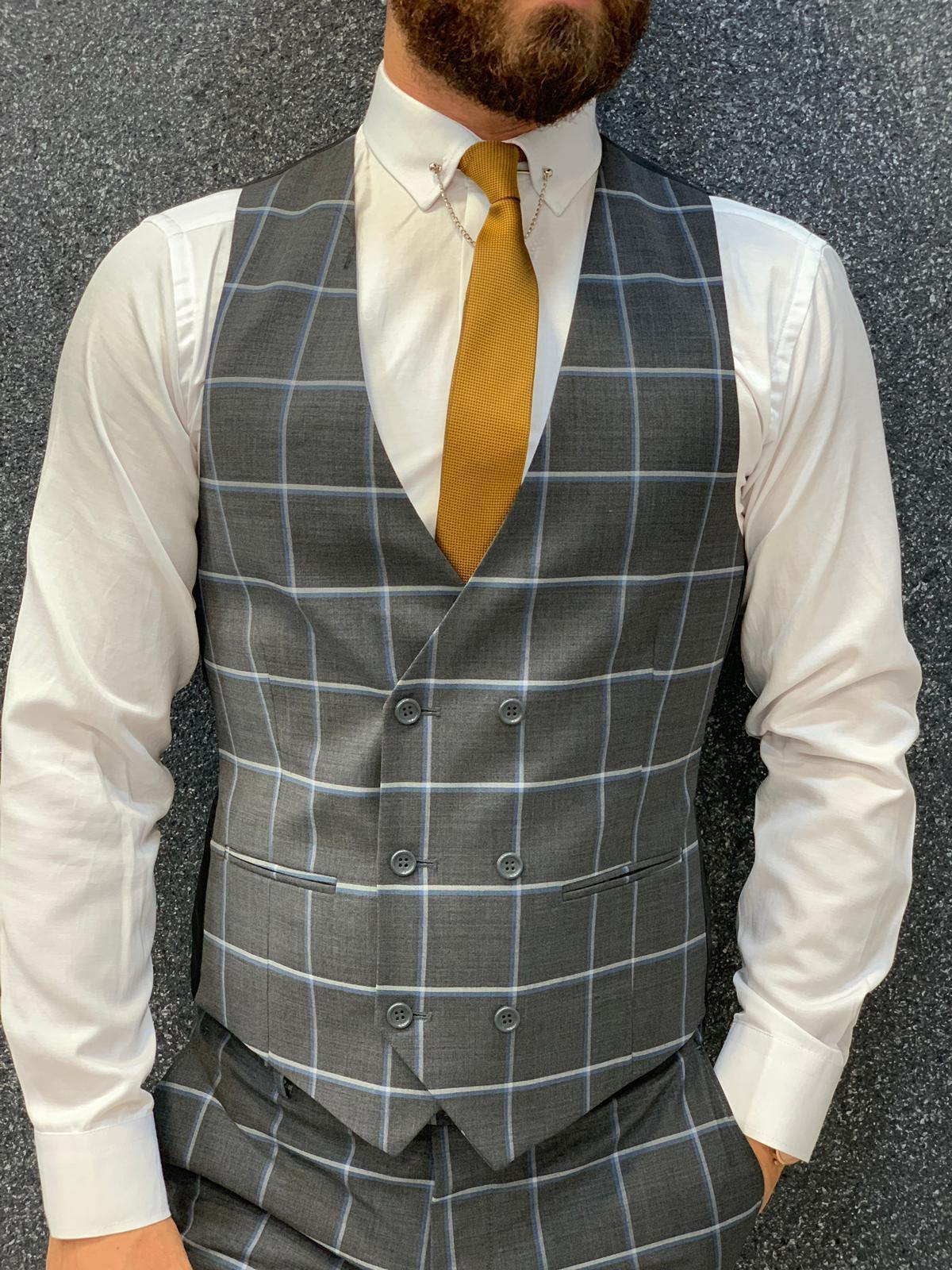 Ensemble de Costume Gris à Carreaux - ParezCostume