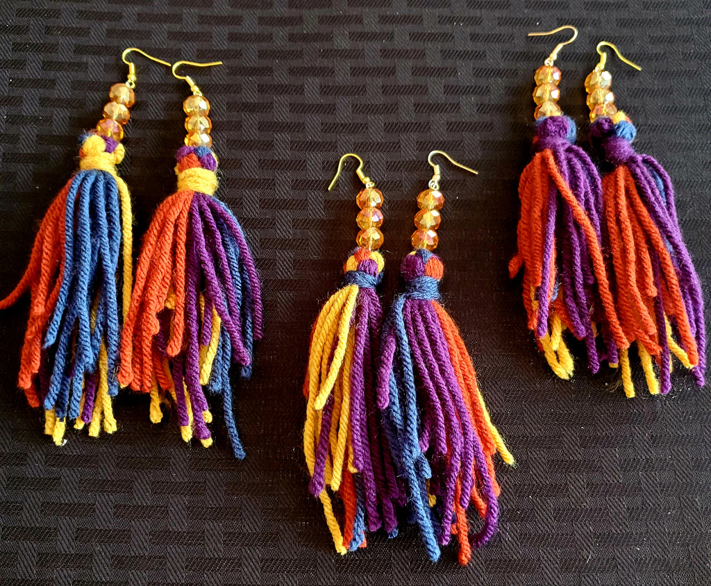 Rainbow Beauties - Bead & Yarn Earrings
