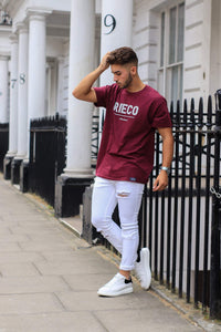 Rieco Classic T-Shirt Maroon/White - Rieco Clothing