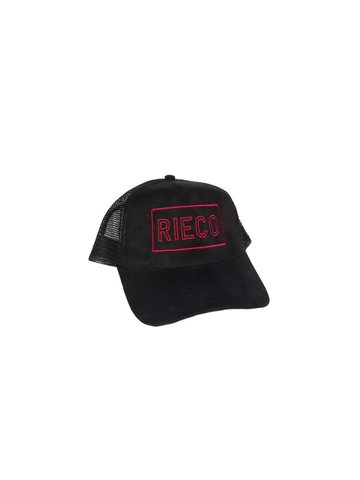 Suede Mesh Trucker Black/Deep Red - Rieco Clothing