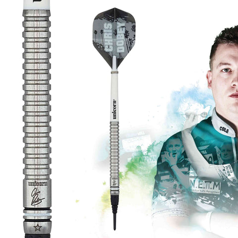 Unicorn Chris Dobey Code Players Steel Dart with straight barrels made of 90% Tungsten Wolfram Steeltip