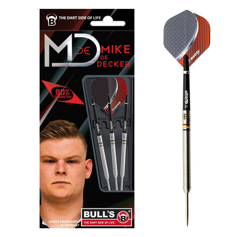 "BULL'S ""The Real Deal"" Mike De Decker Steeldart Signature Player Darts 22g Steeltip"