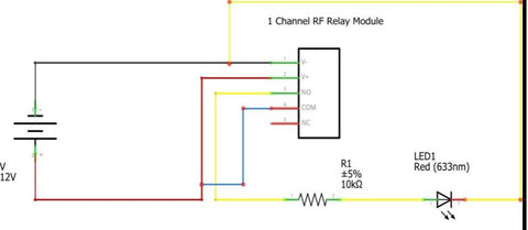 This 1 channel latching relay module whose output is passive output, can be controlled by its 2-button RF wireless controller, when the module is powered on.