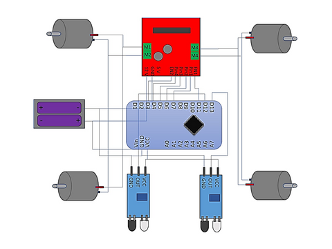 Connection diagram for line follower robot
