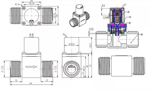 Mechanical Drawings of The Solenoid Valve