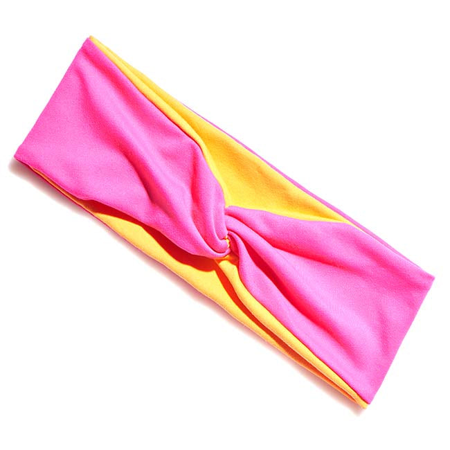 BelleSPORT Twist Headwrap - Hot Pink & Orange