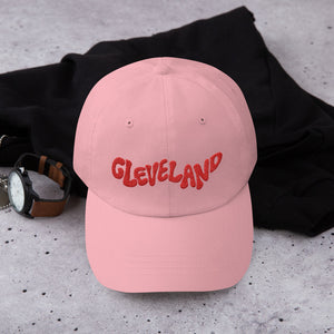 'Cleveland' Dad Hat - Red on Pink