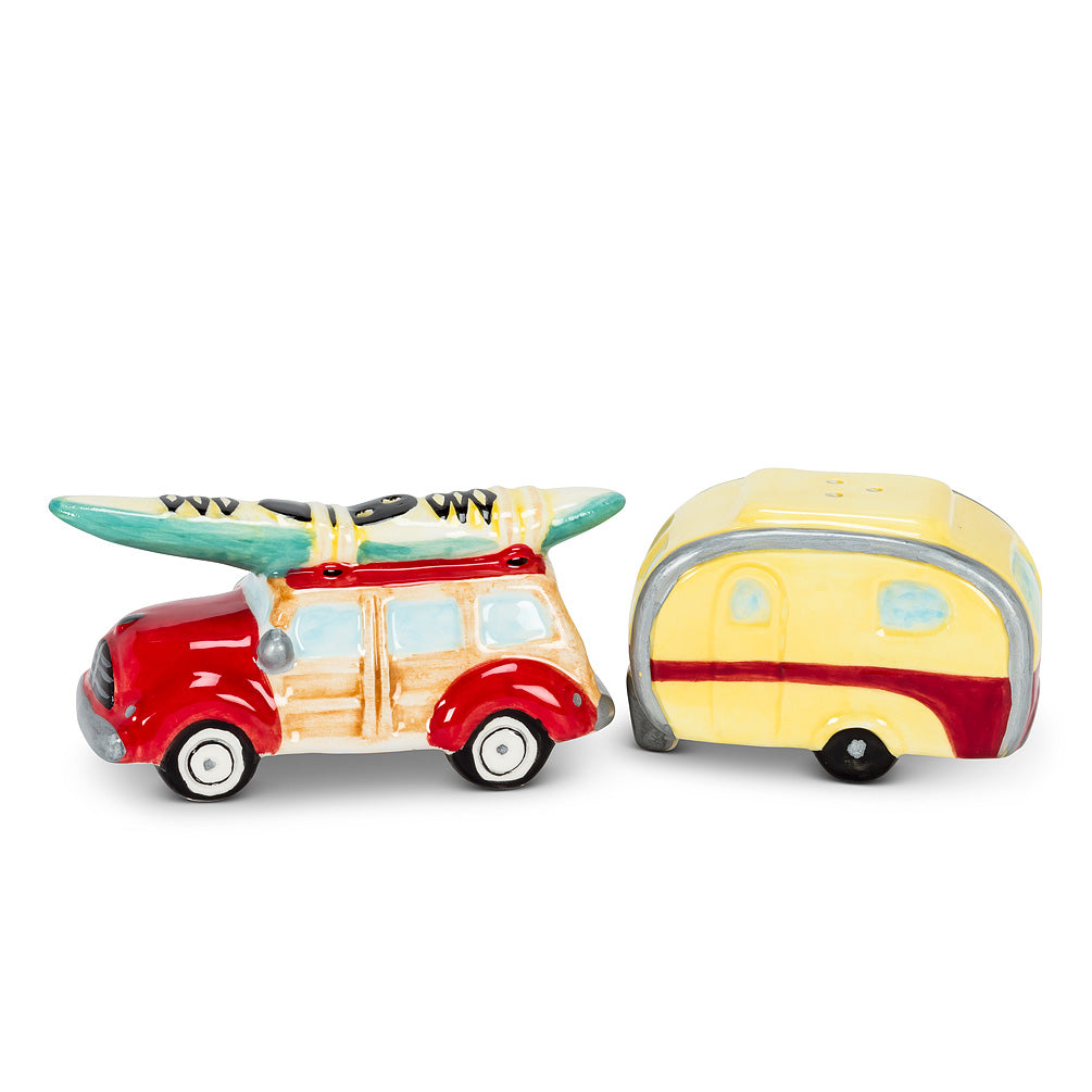 Woody Car and Camper Salt & Pepper