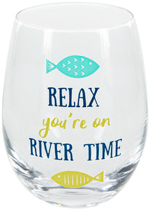 River Time Wine Glass