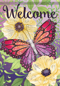 Welcome Butterfly Flag