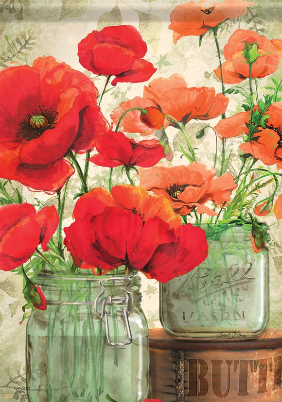 Poppies Mason Jar Flag