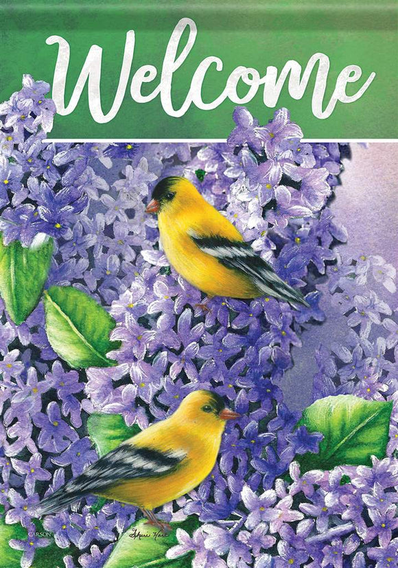 Lilacs & Goldfinch Flag