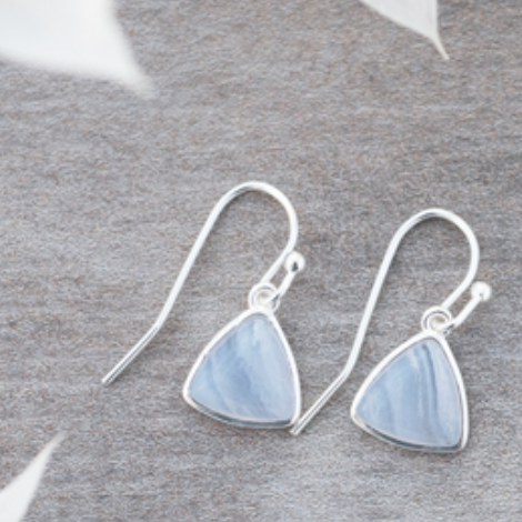 Elsie Earrings Blue Lace Agate