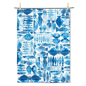 Fish grid tea towel