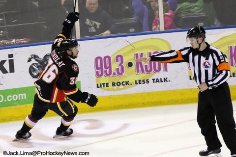 Peter MacDougall points to the goal during Stockton Heat game