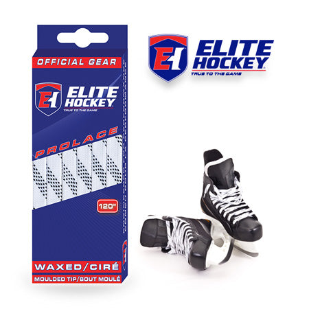 Elite White Waxed Moulded Tip Hockey Laces