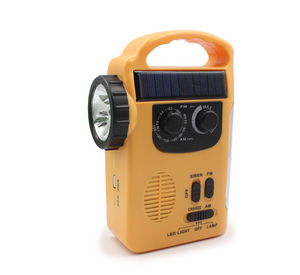 Hand-cranked radio emergency light