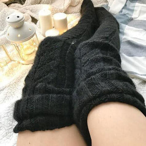 Knitted socks over the knee lengthened stockings