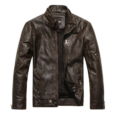 men motorcycle winter coat leather  jacket - shop416.com
