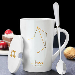 Personality zodiac sign horoscopic ceramic mug with cover and spoon set