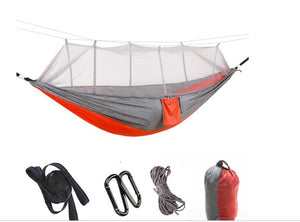 Outdoor Parachute Cloth Hammock Double with Mosquito Net Light Portable Army Green Insect-proof Camping Aerial Tent