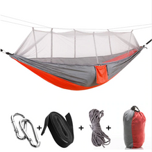 Load image into Gallery viewer, Outdoor Parachute Cloth Hammock Double with Mosquito Net Light Portable Army Green Insect-proof Camping Aerial Tent