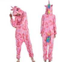 Load image into Gallery viewer, Autumn, winter, flannel, doctor unicorn, cartoon, nightwear, lovable, lovely dinosaur home suit soft unicorn hooded sleepwear