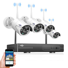 Load image into Gallery viewer, Home wireless kit 4-channel 3 million pixel wireless monitoring surveillance camera kit