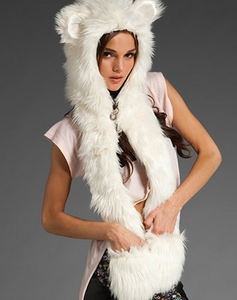 European and American fur hat winter female animal hat imitation rabbit fur grass cartoon cap with scarf