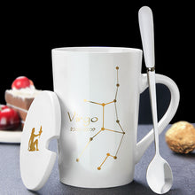 Load image into Gallery viewer, Personality zodiac sign horoscopic ceramic mug with cover and spoon set
