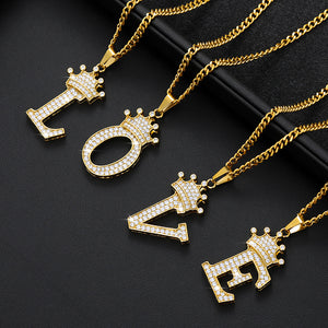 A-Z Crown Alphabet Pendant Necklace