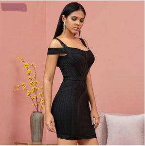Strapless shoulder tight dress women party dance dress - shop416.com