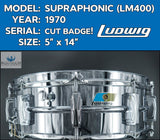 *SOLD* *RARE GRAIL* Vintage 1970 CUT BADGE Ludwig LM400 Supraphonic  Snare Drum
