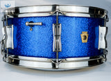 *SOLD* GORGEOUS AND ORIGINAL:  Vintage 1963 Ludwig Blue Sparkle Jazz Festival Snare Drum