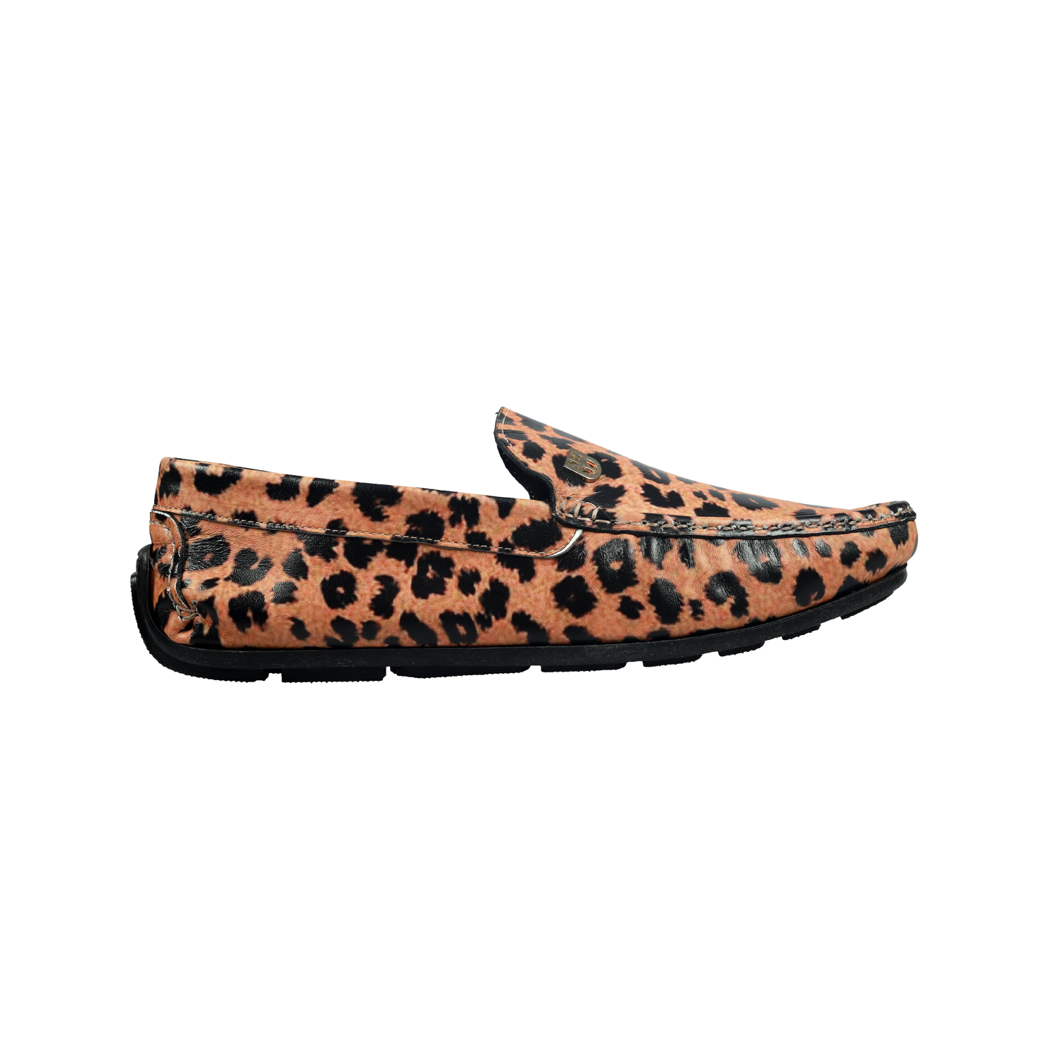 Muet Yellow/Black Leather Leopard Print Casual Leather Loafers for Men